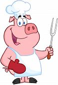 Happy Pig Chef Holding A Fork Cartoon Character poster