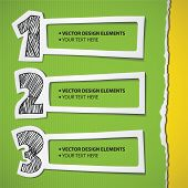 infographic elements set, hand drawn numbers and paper frames poster