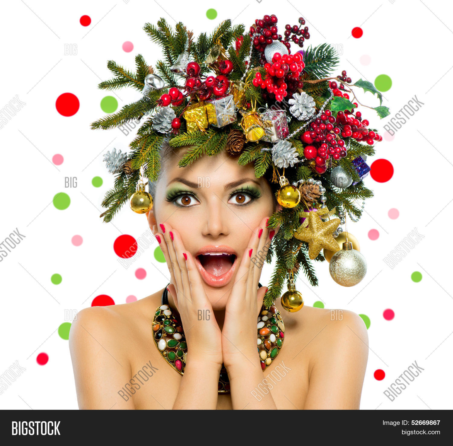 Christmas Woman Beautiful New Year And Tree Holiday Hairstyle Make Up Beauty