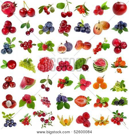Large Collection set of fresh ripe fruits and berries close up sign  objects isolated on white background