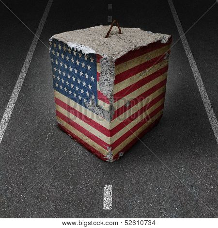 United States government shutdown roadblock obstacle and barrier business concept with a huge cement or concrete cube with an old American flag blocking a road or highway as a symbol of political gridlock resulting in financial system shutdown. poster