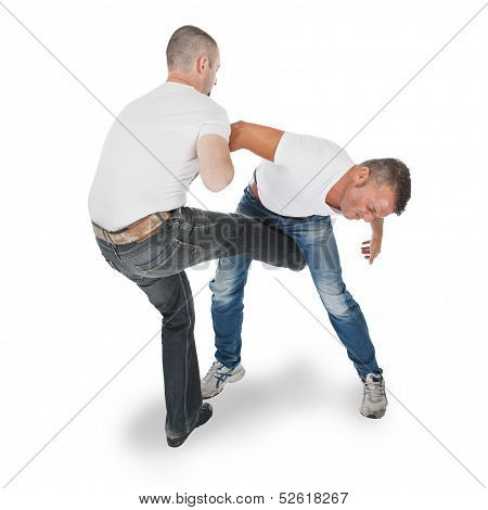 Man Defending An Attack From Another Man, Selfdefense