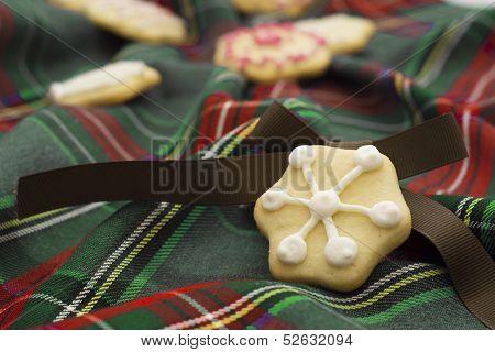 Christmas Cookies On Green Tartan