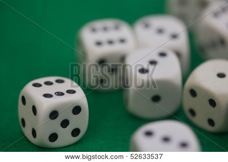 Dice on a gambling table