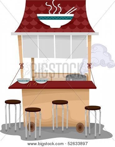 Illustration of a Food Cart Selling Ramen