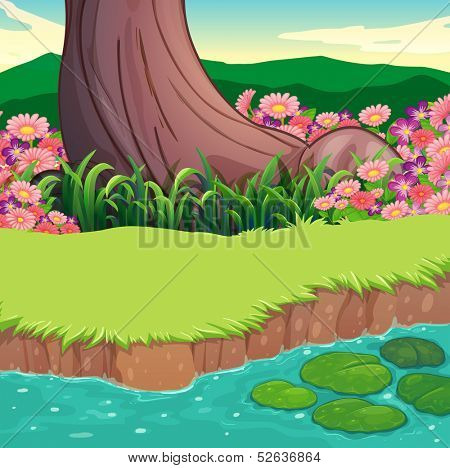 Illustration of a scenery at the riverbank