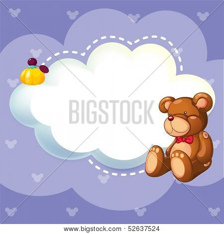 Illustration of a stationery with a brown bear poster