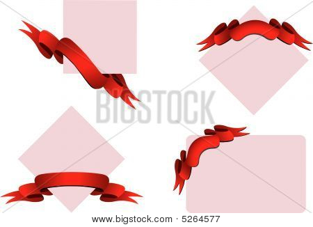 Red ribbons with banners on white background poster
