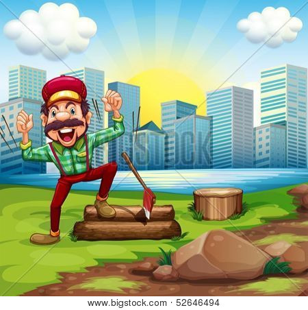 Illustration of a man chopping the woods at the riverbank across the buildings