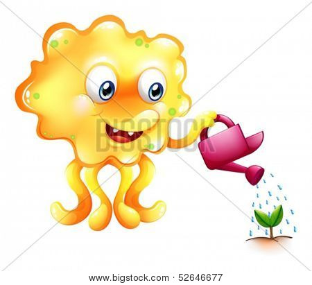 Illustration of a monster watering the growing plant on a white background