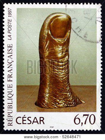 Postage Stamp France 1997 The Thumb, Polished Bronce