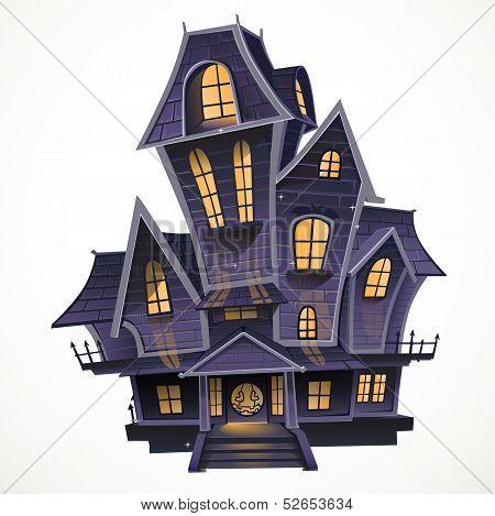 Happy Halloween cozy haunted house isolatd on a white background