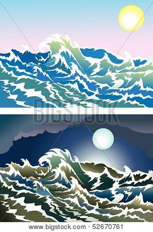 Blusterous sea