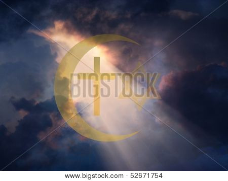 Star of David, Muslim Cresent and Cross
