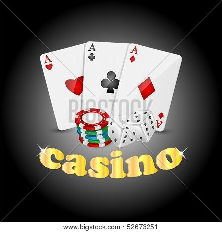 Casino Background.items For The Casino On A Dark Background.vector
