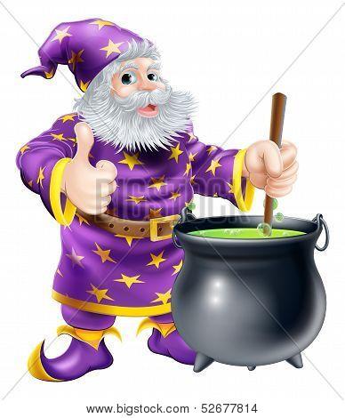 Wizard Stirring Cauldron