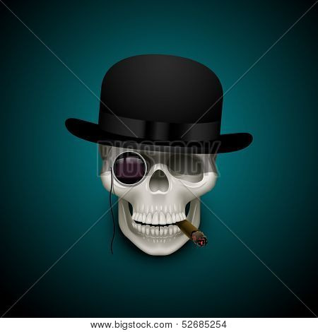 Skull with cigar, monocle and bowler hat, eps10 vector