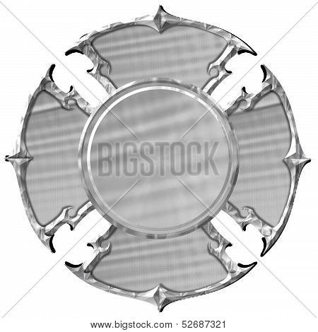 Blank Silver Maltese Cross Fire Department Emblem
