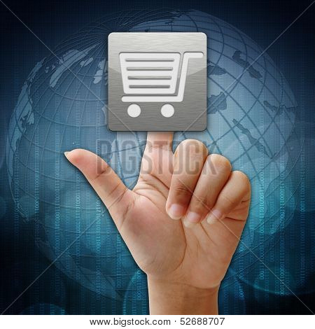 In Press Shopping Icon On Global Background