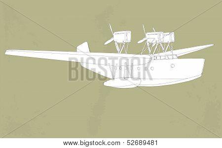 vintage styled illustration of a seaplane