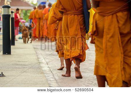Thai monk walking