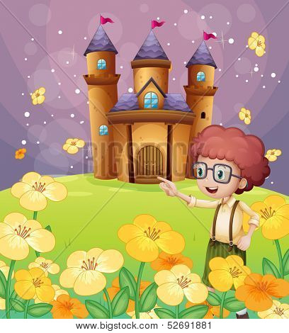 Illustration of a boy pointing near the flowers in the hill with a castle