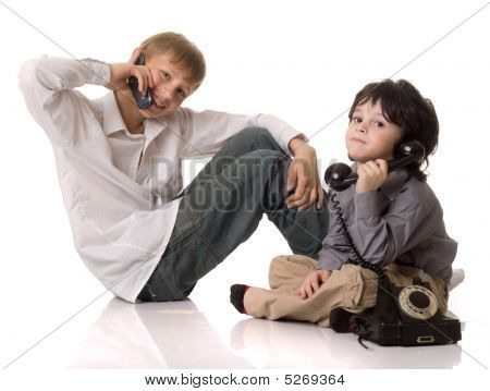 Two Boys With A Telefone