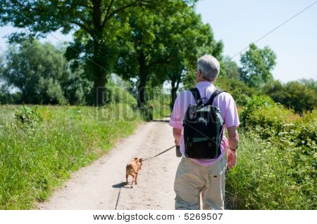 Elderly man is walking with his dog in nature poster