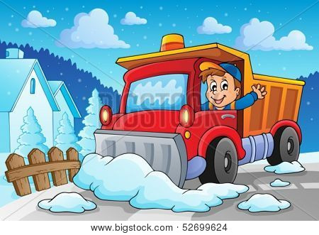 Snow plough theme image 2 - eps10 vector illustration.