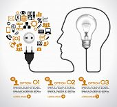 Template infographic. Cable with  plug and an lamp form a profile of the person. The lamp symbolizes the brain. Electrical plug is connected to an electrical outlet, surrounded by business icons.  poster