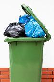 A green dust bin full of rubbish sacks poster