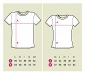 T-Shirt Sizes (men and women) - vector illustration poster