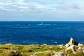 View from Land`s End Cornwall England UK including the Longships lighthouse and Cornish coast poster