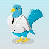 Cute cartoon blue bird in white jacket poster