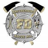 Silver and Gold Maltese Cross Fire Department Emblem poster