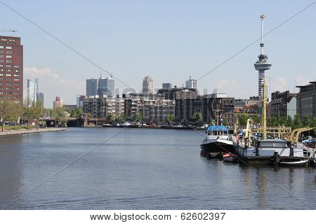 Downtown Rotterdam with Euromast and skyline