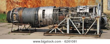 Part Of A Jetplane Engine With Lots Of Components