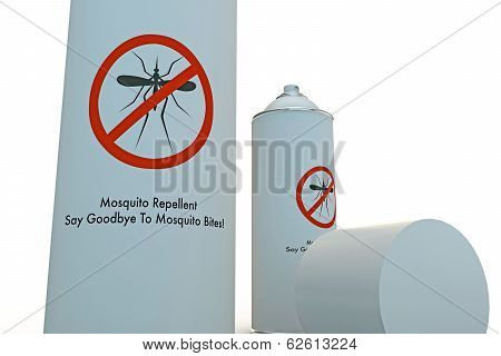 mosquito repellent spray can isolated on white background poster