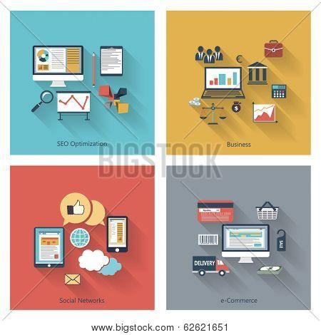 Set of modern concepts in flat design with long shadows and trendy colors for web, mobile applications, seo optimizations, business, social networks, e-commerce etc. Raster copy of vector illustration