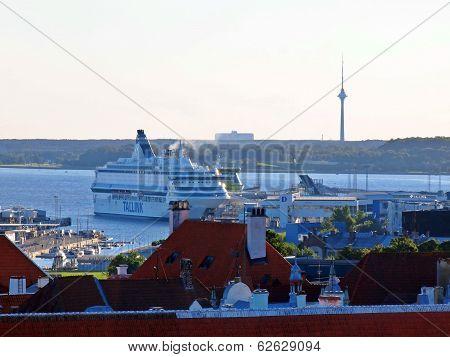 Ferry In The Tallinn Port