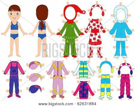 Paper Doll And Warm Clothes Set For Her
