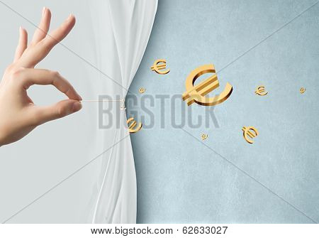 Close up of hand opening white curtain with euro sign behind it poster