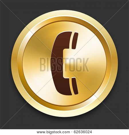 Phone Icons on Gold Button Collection