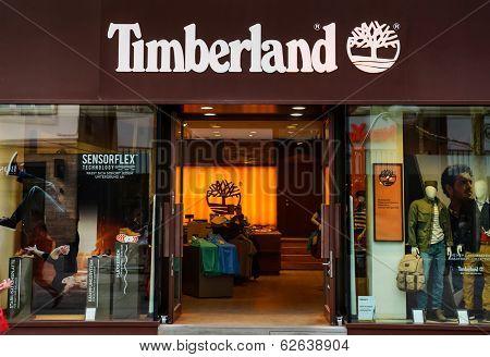 STUTTGART, GERMANY - APRIL 01, 2014: Timberland store. It sells boots, shoes, clothes in own stores and retailers with 5,600 employees and revenue of $1.4 billion.