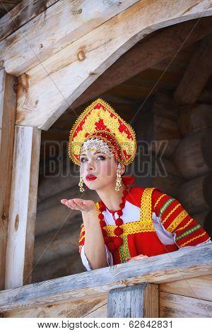 Russian Girl In A Kokoshnik Sends An Air Kiss