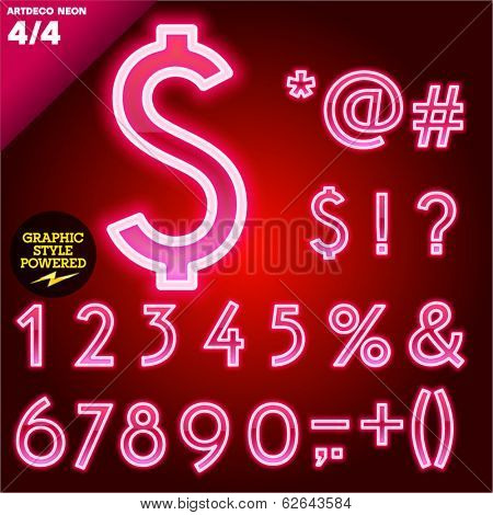 Vector illustration of abstract neon tube alphabet for light board. Red Art deco