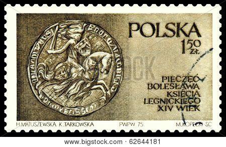 Vintage  Postage Stamp. Seal Of  Boleslaw .