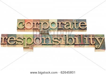 corporate responsiblity words - isolated text in  letterpress wood type blocks stained by color inks