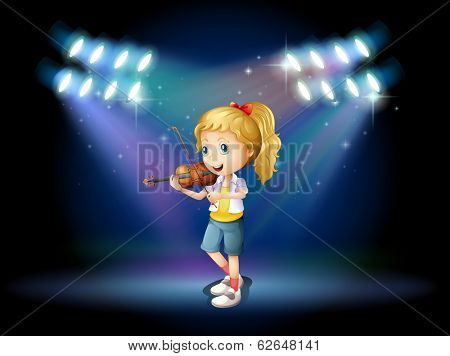 Illustration of a young girl playing with her violin at the stage