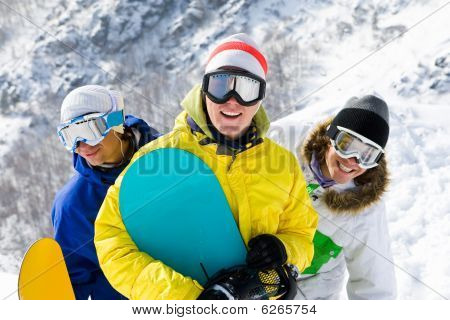 Cheerful Snowboarders